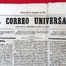 Coleccionismo de Revistas y Periódicos: EL CORREO UNIVERSAL - 1854 - AÑO 1 Nº 1 (MUY RARO DOBLE DIARIO). Lote 275597518