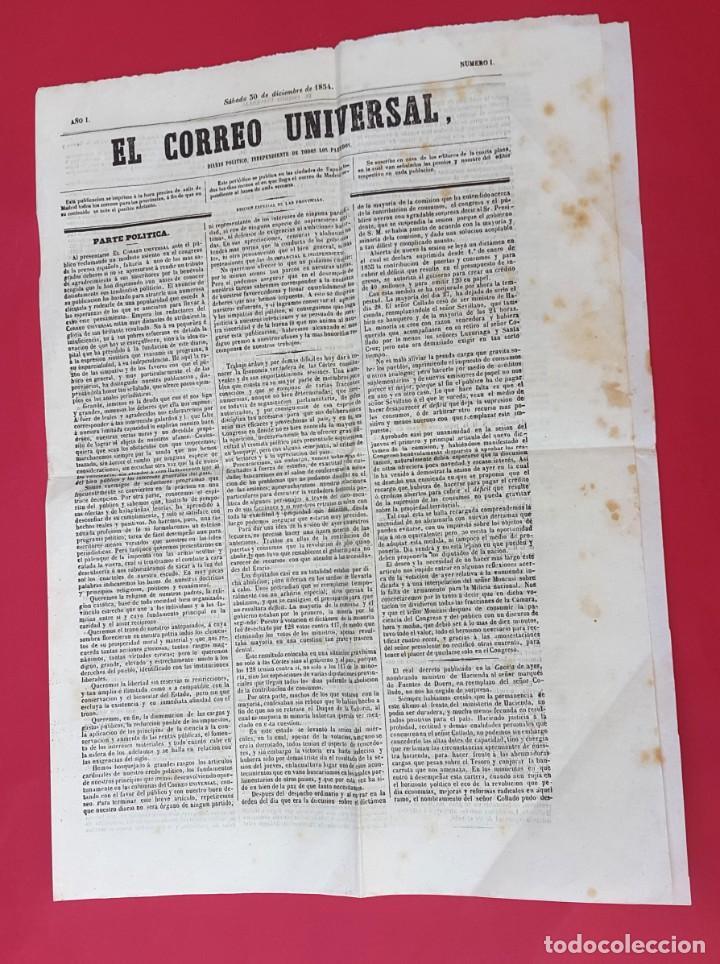 Coleccionismo de Revistas y Periódicos: EL CORREO UNIVERSAL - 1854 - AÑO 1 Nº 1 (Muy raro doble diario) - Foto 2 - 275597518