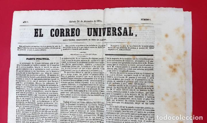 Coleccionismo de Revistas y Periódicos: EL CORREO UNIVERSAL - 1854 - AÑO 1 Nº 1 (Muy raro doble diario) - Foto 3 - 275597518
