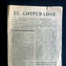 Coleccionismo de Revistas y Periódicos: ZARAGOZA 1917 / EL COOPERADOR / BOLETÍN COOPERATIVA OBRERA DE CONSUMO DE SAN JOSÉ. Lote 276189953