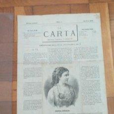 Coleccionismo de Revistas y Periódicos: ANTIGUA REVISTA LA CARTA NUMERO 1 EDICIÓN SEMANAL ABRIL DE 1878 MODAS PRIMAVERA, RAMBLA BARCELONA. Lote 276597518