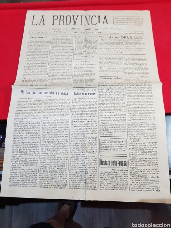 DIARIO INDEPENDIENTE LA PROVINCIA TERUEL 1922 (Coleccionismo - Revistas y Periódicos Antiguos (hasta 1.939))