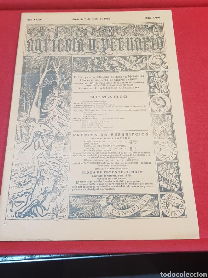 PERIÓDICO AGRÍCOLA Y PECUARIO MADRID 1926 FOTOGRAFÍAS ARTÍCULO ALBUFERA VALENCIA LEY DE VINO (Coleccionismo - Revistas y Periódicos Antiguos (hasta 1.939))
