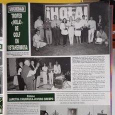 Coleccionismo de Revistas y Periódicos: VISTAHERMOSA TROFEO GOLF HOLA LAPETRA CHURRUCA RIVERO CRESPO. Lote 277049503