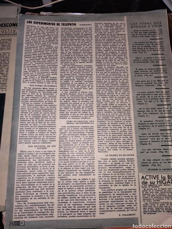 Coleccionismo de Revistas y Periódicos: 2 hojas recortes artículo como se hace los experimentos de telepatía. Revista Semana 1171 de 1962 - Foto 2 - 278265053