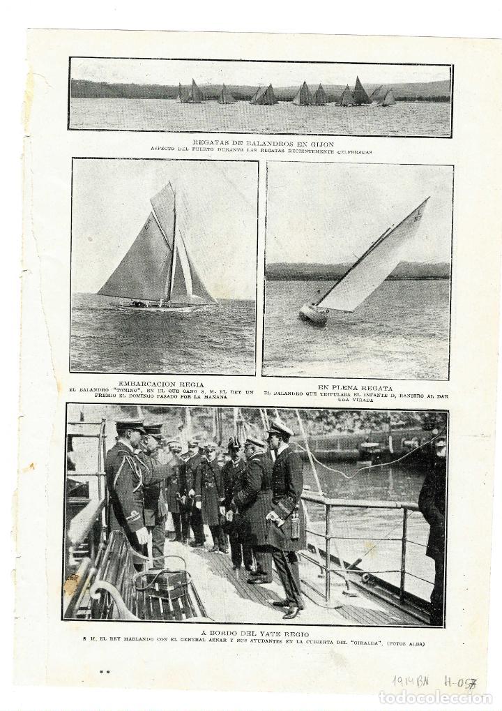 GIJON 1914 REGATAS DE BALANDROS Y ALFONSO XIII A BORDO DEL YATE REGIO HOJA REVISTA (Coleccionismo - Revistas y Periódicos Antiguos (hasta 1.939))