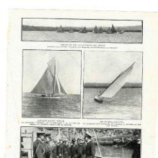 Coleccionismo de Revistas y Periódicos: GIJON 1914 REGATAS DE BALANDROS Y ALFONSO XIII A BORDO DEL YATE REGIO HOJA REVISTA. Lote 279424113