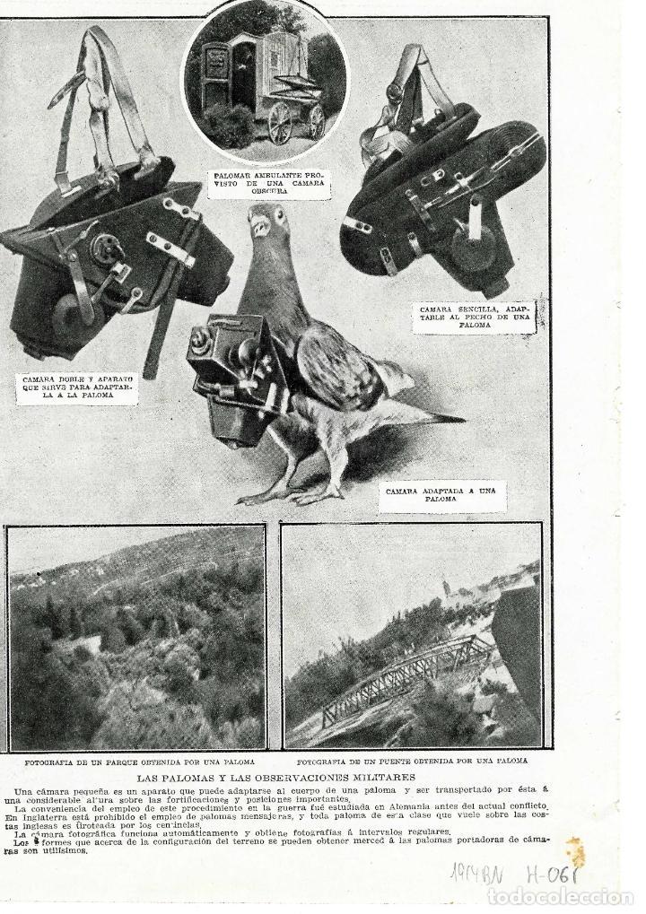LAS PALOMAS 1914 OBSERVACIONES MILITARES HOJA REVISTA (Coleccionismo - Revistas y Periódicos Antiguos (hasta 1.939))