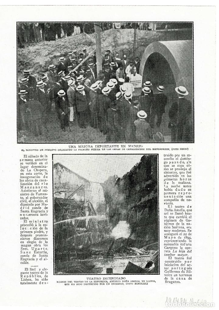 MADRID 1914 PRIMERA PIEDRA CANALIZACION DEL MANZANARES HOJA REVISTA (Coleccionismo - Revistas y Periódicos Antiguos (hasta 1.939))