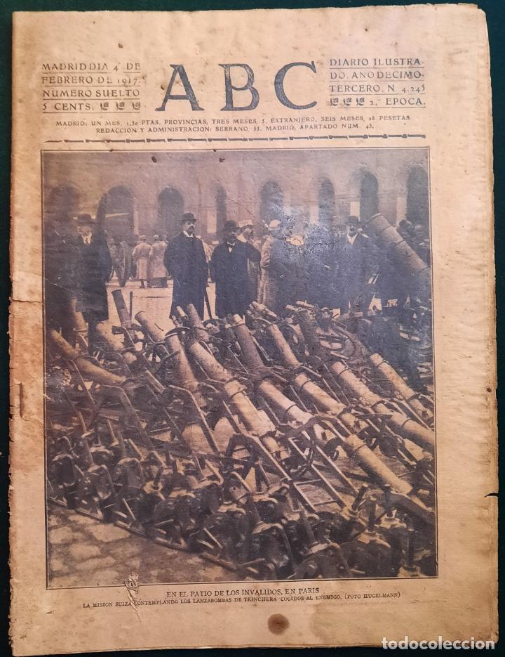 ABC N⁰ 4245 04-FEBRERO 1917 - I GUERRA MUNDIAL (VER FOTOS). EL SUBMARINO ISAAC PERAL. (Coleccionismo - Revistas y Periódicos Antiguos (hasta 1.939))