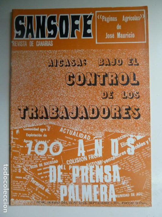 SANSOFE. REVISTA DE CANARIAS. Nº 84. SEPTIEMBRE 1971 (Coleccionismo - Revistas y Periódicos Modernos (a partir de 1.940) - Otros)
