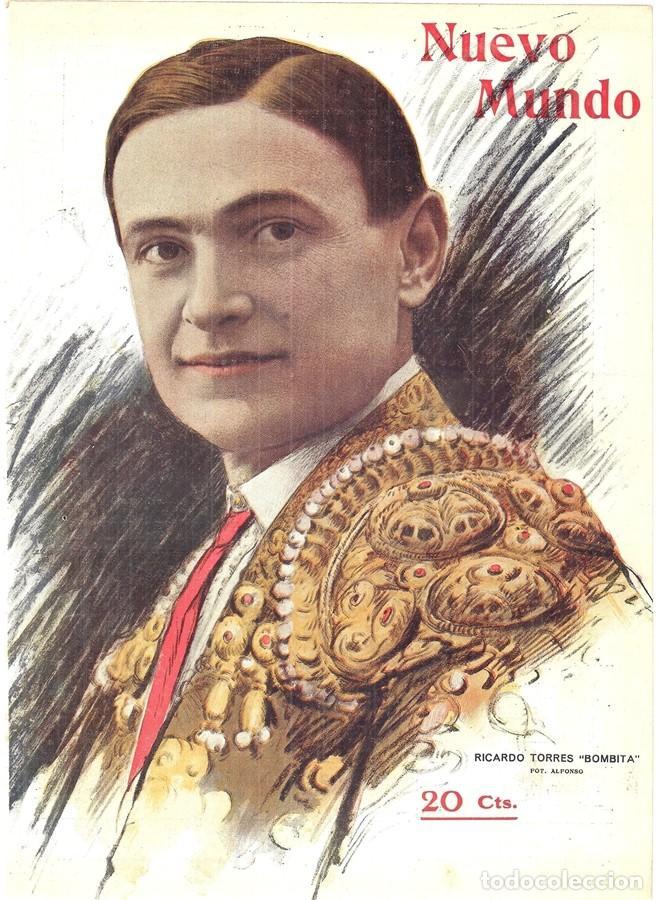 1913 HOJA REVISTA PORTADA TORERO MATADOR DE TOROS RICARDO TORRES 'BOMBITA' FOTO DE ALFONSO (Coleccionismo - Revistas y Periódicos Antiguos (hasta 1.939))