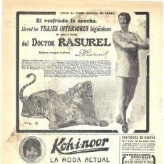 Coleccionismo de Revistas y Periódicos: 1913 HOJA REVISTA PUBLICIDAD ANUNCIO ROPA INTERIOR TRAJES HIGIÉNICOS DEL DOCTOR RASUREL - TIGRE. Lote 288614753