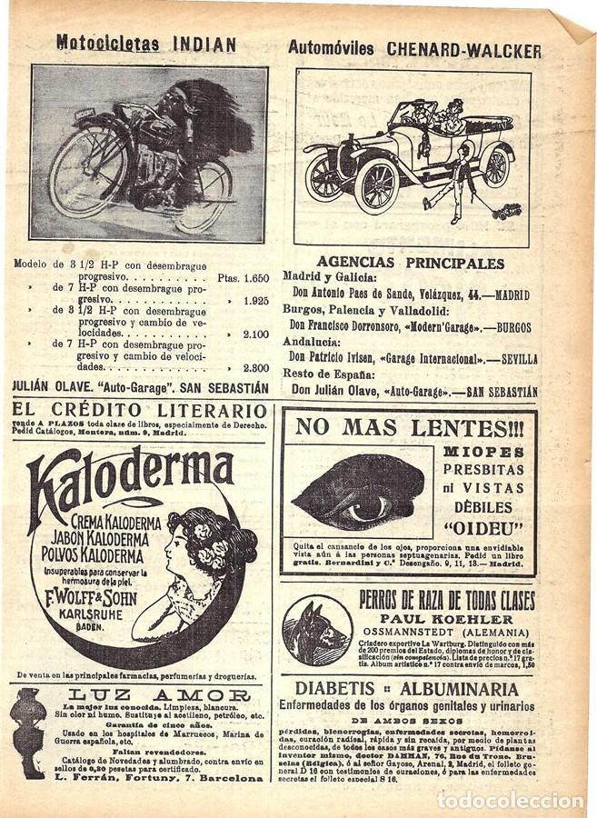 1913 HOJA REVISTA PUBLICIDAD ANUNCIO MOTOCICLETAS INDIAN - AUTOMÓVILES CHENARD-WALCKER (Coleccionismo - Revistas y Periódicos Antiguos (hasta 1.939))