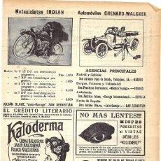 Coleccionismo de Revistas y Periódicos: 1913 HOJA REVISTA PUBLICIDAD ANUNCIO MOTOCICLETAS INDIAN - AUTOMÓVILES CHENARD-WALCKER. Lote 288615518