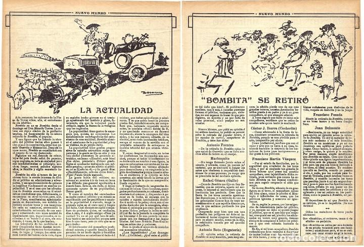 1913 HOJAS REVISTA ARTÍCULO RETIRADA DE LOS RUEDOS TORERO MATADOR DE TOROS RICARDO TORRES 'BOMBITA' (Coleccionismo - Revistas y Periódicos Antiguos (hasta 1.939))