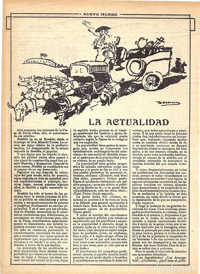 Coleccionismo de Revistas y Periódicos: 1913 HOJAS REVISTA ARTÍCULO RETIRADA DE LOS RUEDOS TORERO MATADOR DE TOROS RICARDO TORRES BOMBITA - Foto 2 - 288616378