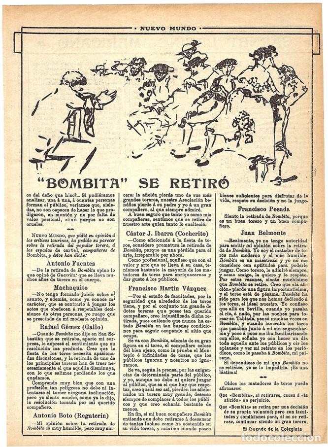 Coleccionismo de Revistas y Periódicos: 1913 HOJAS REVISTA ARTÍCULO RETIRADA DE LOS RUEDOS TORERO MATADOR DE TOROS RICARDO TORRES BOMBITA - Foto 3 - 288616378