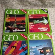 Coleccionismo de Revistas y Periódicos: GEO - LOTE 4 EJEMPLARES - BARCELONA 89, ALASKA INDOMITA, LUJOS DE EL VERANO, MILAGROS EN MEDICINA. Lote 288687173