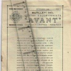 """Collezionismo di Riviste e Giornali: 1922 Nº1 BUTLLETÍ CENTRE EXCURSIONISTA """"AVANT"""" MANRESA - CONSERVATORI 4, PASSEIG PERE III (6). Lote 293611133"""