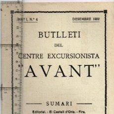 """Collezionismo di Riviste e Giornali: 1922 Nº4 BUTLLETÍ CENTRE EXCURSIONISTA """"AVANT"""" MANRESA - CONSERVATORI 4, PASSEIG PERE III. Lote 293625578"""