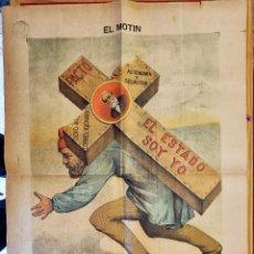 Coleccionismo de Revistas y Periódicos: PERIODICO SATIRICO EL MOTIN SEPTIEMBRE 1889 CARTEL LITOGRAFIA ORIGINAL. Lote 294017063