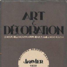 Coleccionismo de Revistas y Periódicos: ART & DECORATION EDITIONS ALBERT LEVY ENERO 1929 PARIS EN FRANCES REVISTA MENSUAL DE ARTE MODERNO. Lote 295382293
