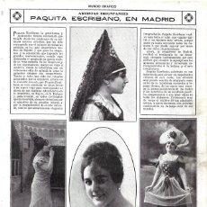 Collezionismo di Riviste e Giornali: 1919 HOJA REVISTA MADRID ARTISTA CANTANTE CUPLETISTA ARAGONESA PAQUITA ESCRIBANO. Lote 295622228