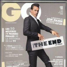 Coleccionismo de Revistas y Periódicos: REVISTA GQ N 211 AÑO 2015. JON HAMM. LOS 30 MEJORES Y PEORES FINALES DE LA HISTORIA DE TV.. Lote 295810733