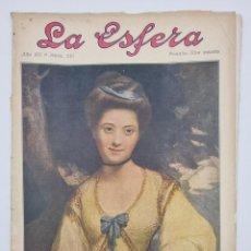 Coleccionismo de Revistas y Periódicos: REVISTA LA ESFERA. NUM, 351. RETRATO DE MISS RIDGE, CUADRO ORIGINAL DE JOSHUA REYNOLDS,. Lote 297169368