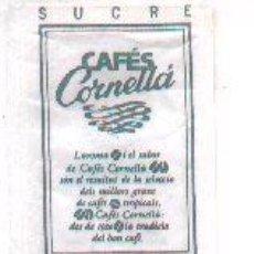 Sobres de azúcar de colección: 25-484. SOBRE AZUCAR. CAFES CORNELLA (VERDE). Lote 133609307