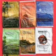 Sobres de azúcar de colección: SEIS BOLSAS DE AZUCAR DE CAFES STRACTO. Lote 28968674