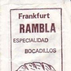 Sobres de azúcar de colección: SOBRE DE AZUCAR DEL FRANKFURT RAMBLA DE TERRASSA (BARCELONA), RAMPE, 8 GR.. Lote 33240764