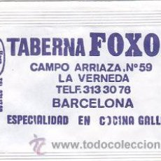 Sobres de azúcar de colección: SOBRE DE AZUCAR DE LA TABERNA FOXOS DE BARCELONA, BARA EZQUERRA, AÑOS 90. Lote 33252967