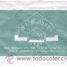Sobres de azúcar de colección: SOBRE DE AZUCAR DEL HOTEL ST.GOTHARD DE ERTS - ARINSAL, ANDORRA, BARA EZQUERRA, 8GR.. Lote 34408852