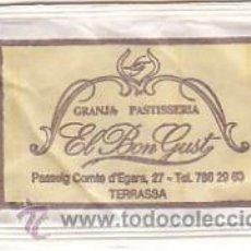 Sobres de azúcar de colección: SOBRE DE AZUCAR DE LA GRANJA PASTISSERIA EL BON GUST DE TERRASSA (BARCELONA), 8GR., AÑOS 90. Lote 34427773