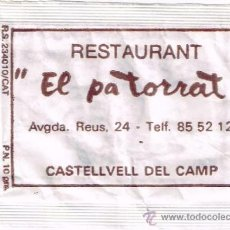 """Sobres de azúcar de colección: SOBRE DE AZUCAR DEL RESTAURANT """"EL PA TORRAT"""" DE CASTELLVELL DEL CAMP (TARRAGO, RS.23410, 10GR. A.90. Lote 37335791"""