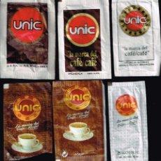 Sobres de azúcar de colección: 6 SOBRES DE AZUCAR DE CAFES UNIC DIFERENTES DE LOS AÑOS 80 A ACTUALES. Lote 42056290