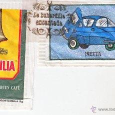 Bustine di zucchero di collezione: SOBRE DE AZUCAR - COLECCION COCHES CAFE BRASILIA - ESTUCHADORA Y GR. FOTOS - BMW ISETTA. Lote 87361735