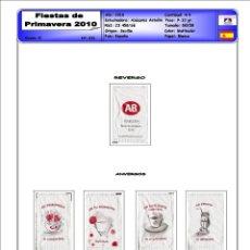 Sobres de azúcar de colección: 0033 SERIE SOBRES DE AZÚCAR: FIESTAS PRIMAVERA 2010. EST. : A. ANTOÑIN 4/4. Lote 232017570