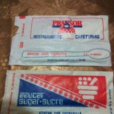 Sobres de azúcar de colección: 2 SOBRES AZÚCAR LLENO CON CUCHARILLA. AÑOS 80. Lote 83971607