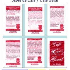 Sobres de azúcar de colección: SABER DE CAFÉ - CAFÉ GENIL.- 5 SOBRES DE AZÚCAR / SERIE COMPLETA / AÑO 2007. Lote 92795370