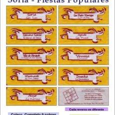 Sobres de azúcar de colección: SORIA - FIESTAS POPULARES.- 9 SOBRES DE AZÚCAR. SERIE COMPLETA / AÑO 2009. Lote 92797130