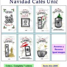 Sobres de azúcar de colección: NAVIDAD CAFÉS UNIC.- 7 SOBRES DE AZÚCAR. SERIE COMPLETA / AÑO 2005. Lote 95740631