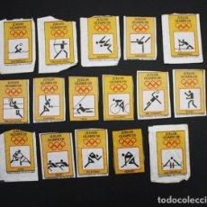 Sobres de azúcar de colección: 16 CROMOS SERIE JUEGOS OLIMPICOS RECORTADOS DE AZUCARILLOS CAFES BRASILIA PROBRASA REUS. Lote 95740639
