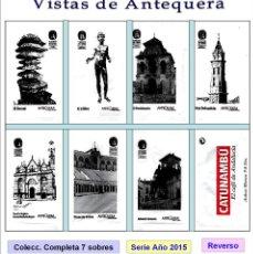 Sobres de azúcar de colección: VISTAS DE ANTEQUERA.- 7 SOBRES DE AZÚCAR / SERIE COMPLETA / AÑO 2015. Lote 95740759