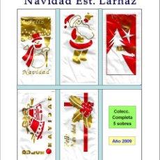 Sobres de azúcar de colección: NAVIDAD ESTUCHADOS LARHAZ.- 5 SOBRES DE AZÚCAR / SERIE COMPLETA / AÑO 2009. Lote 95740875