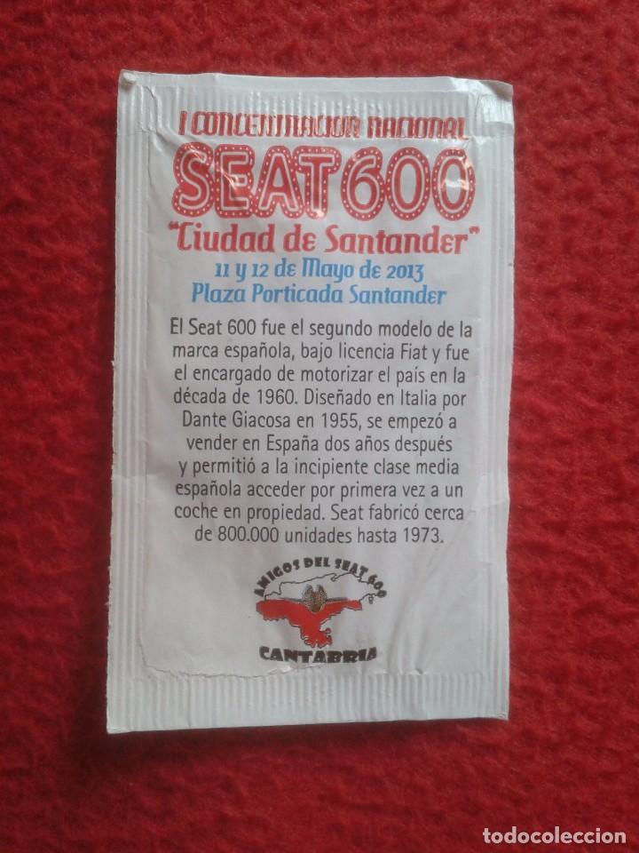 Sobres de azúcar de colección: SOBRE DE AZÚCAR PACKET OF SUGAR COCHE CAR SEAT 600 I CONCENTRACIÓN NACIONAL CIUDAD DE SANTANDER 2013 - Foto 2 - 96419887