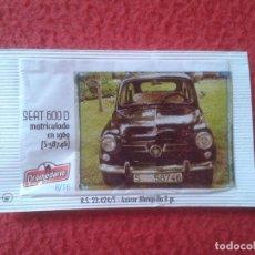Sobres de azúcar de colección: SOBRE DE AZÚCAR PACKET OF SUGAR COCHE CAR SEAT 600 I CONCENTRACIÓN NACIONAL CIUDAD DE SANTANDER 2013. Lote 96420367