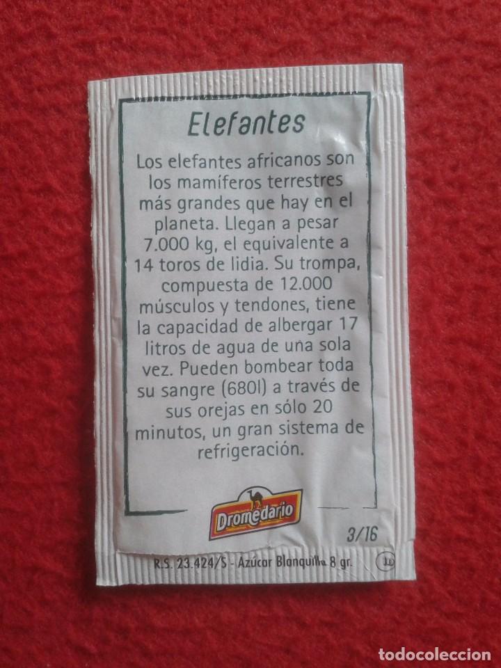 Sobres de azúcar de colección: SOBRE DE AZÚCAR PACKET OF SUGAR ELEFANTES PARQUE DE LA NATURALEZA DE CABÁRCENO CANTABRIA. ELEFANTE - Foto 2 - 96477087